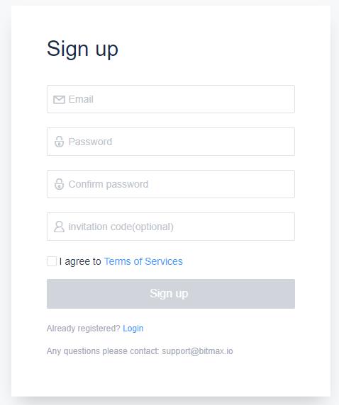 Bitmax.io Sign up